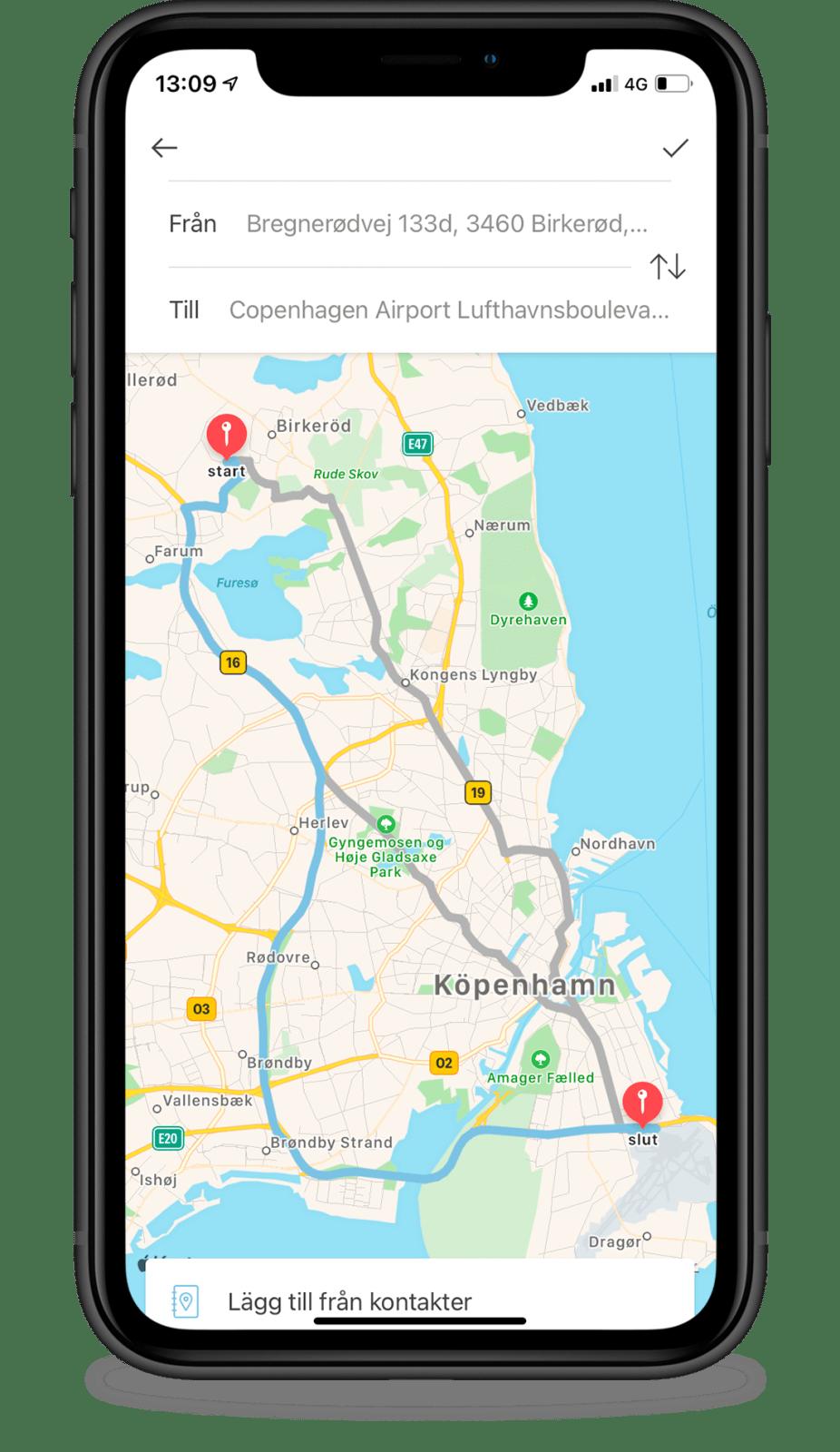 Ange körning manuellt via Google Maps i Acubiz.